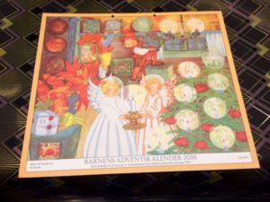 Barnens adventskalender 2016. Årets kalender är ett nytryck av konstnärinna aina Stenberg-MasOlles kalender från 1947