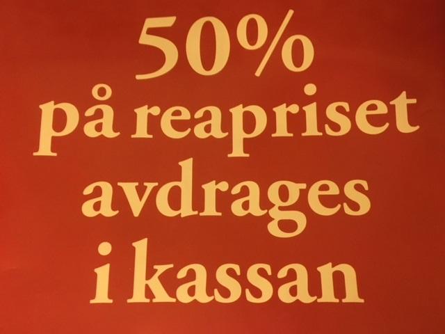 50 % rabatt på rean! Från onsdag 21/3 kl. 10.00
