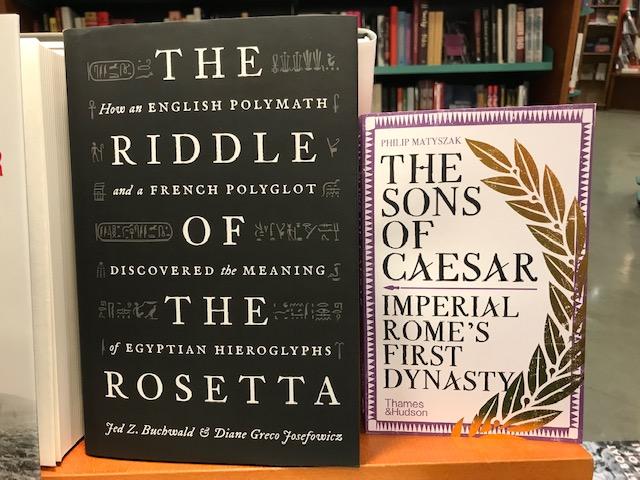 Två nyinkomna titlar på avd. Classical Studies: The Riddle of the Rosetta och The Son´s of Caesar. Imperial Rome´s First Dynasty