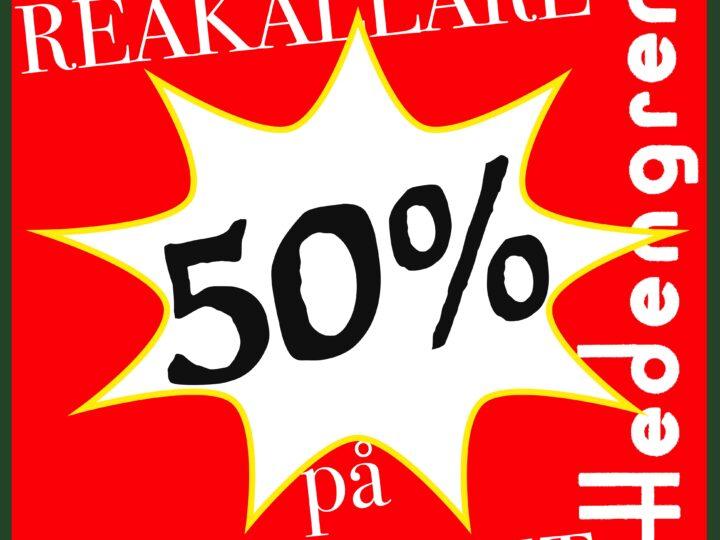 50 % rabatt på reaböckerna i Hedengrens reabutik!
